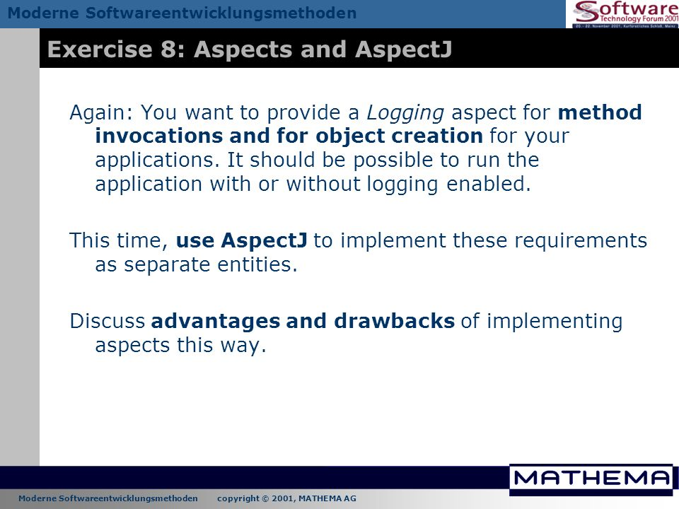 Exercise 8: Aspects and AspectJ
