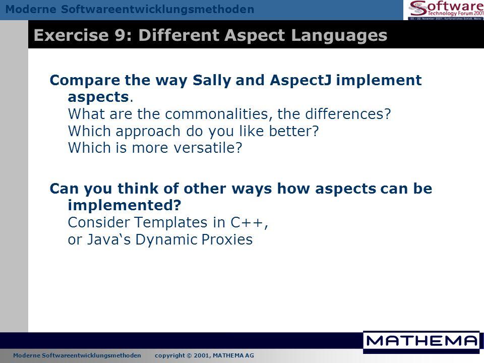 Exercise 9: Different Aspect Languages