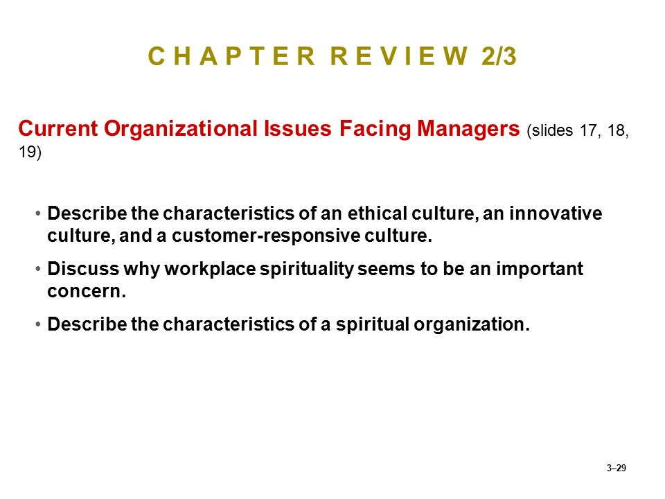 C H A P T E R R E V I E W 2/3 Current Organizational Issues Facing Managers (slides 17, 18, 19)
