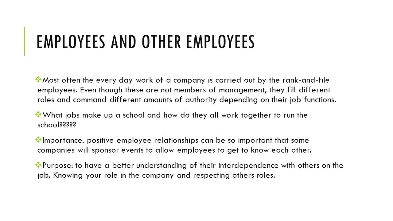 Employees and other employees