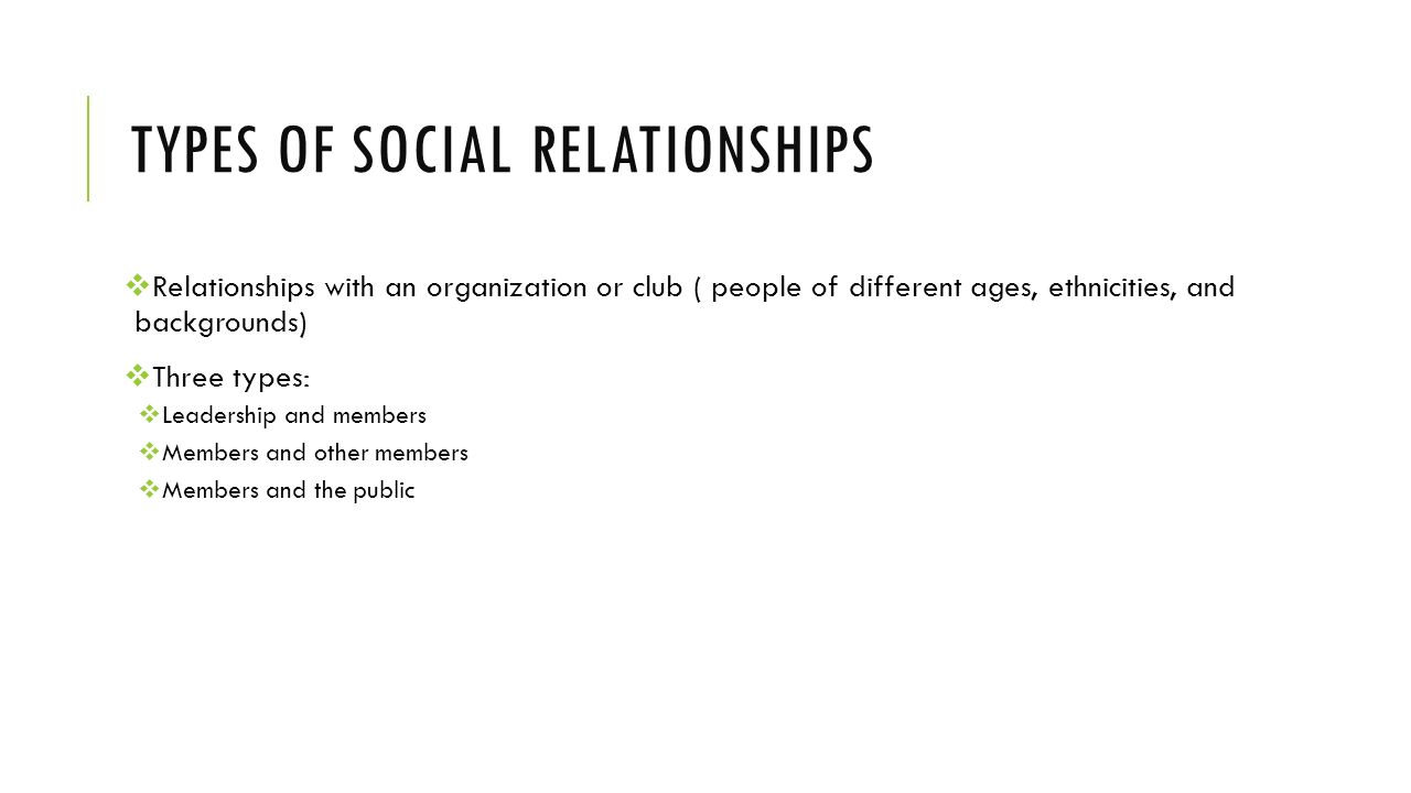 Types of social relationships