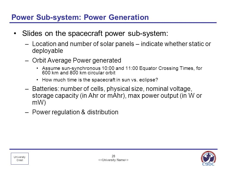 Power Sub-system: Power Generation