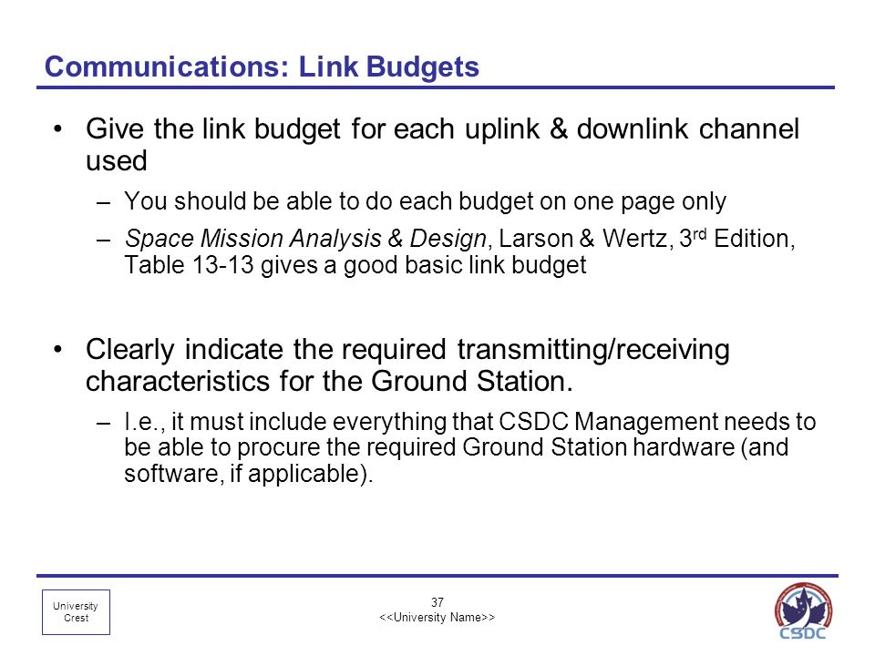 Communications: Link Budgets