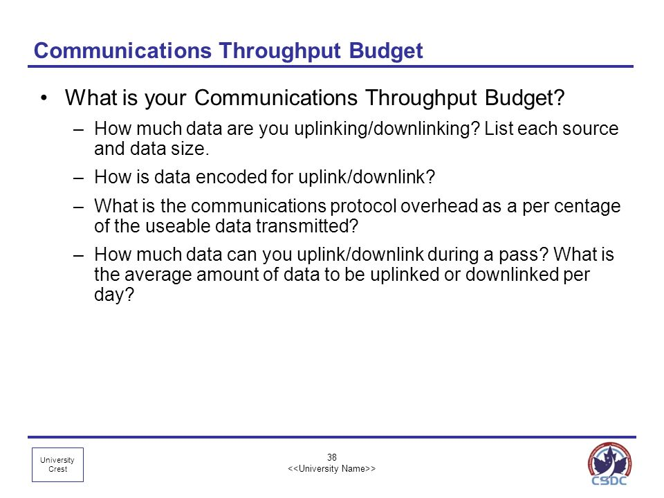 Communications Throughput Budget