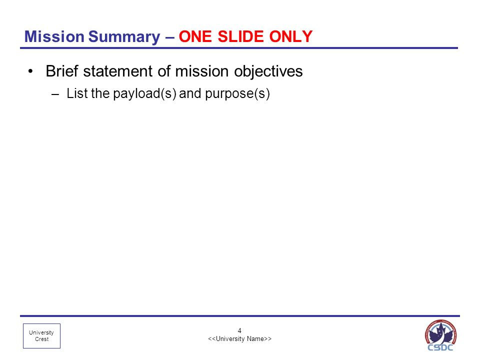 Mission Summary – ONE SLIDE ONLY