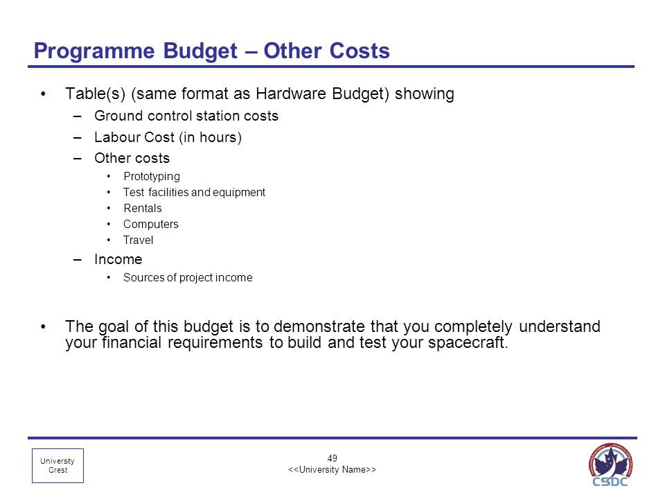 Programme Budget – Other Costs