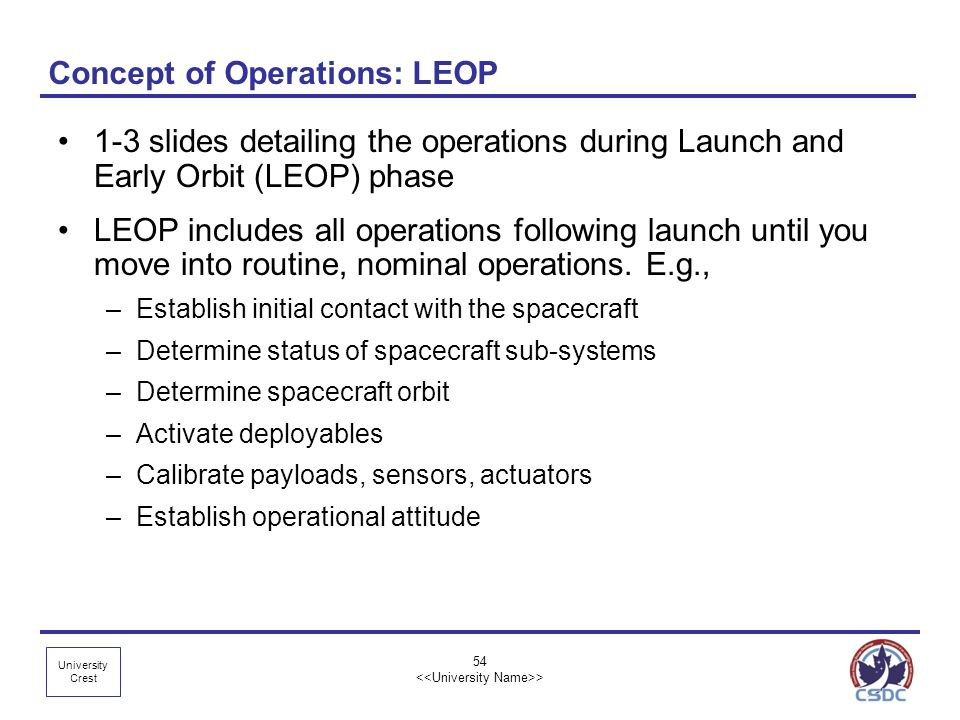 Concept of Operations: LEOP