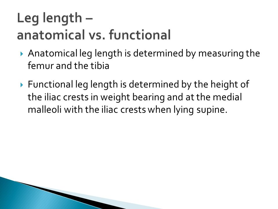 Leg length – anatomical vs. functional