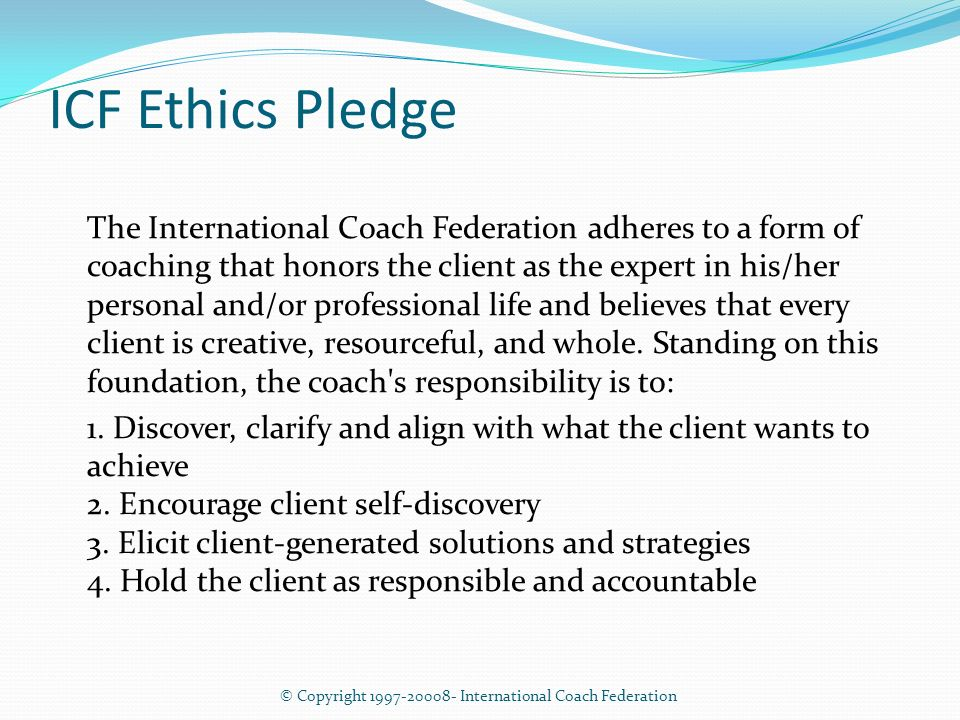 International coach federation code of ethics