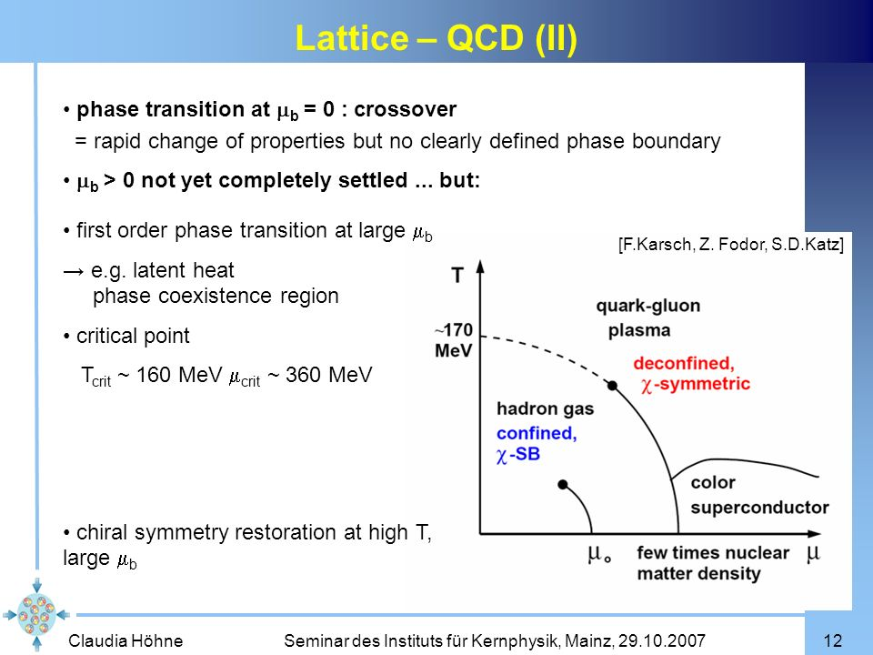 Lattice – QCD (II) phase transition at mb = 0 : crossover