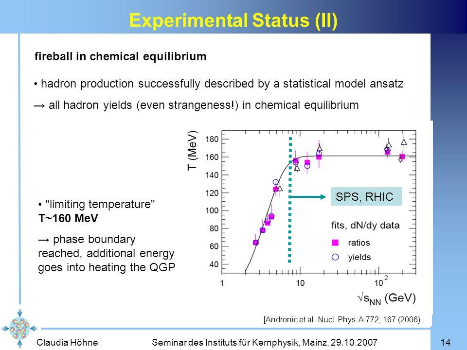 Experimental Status (II)