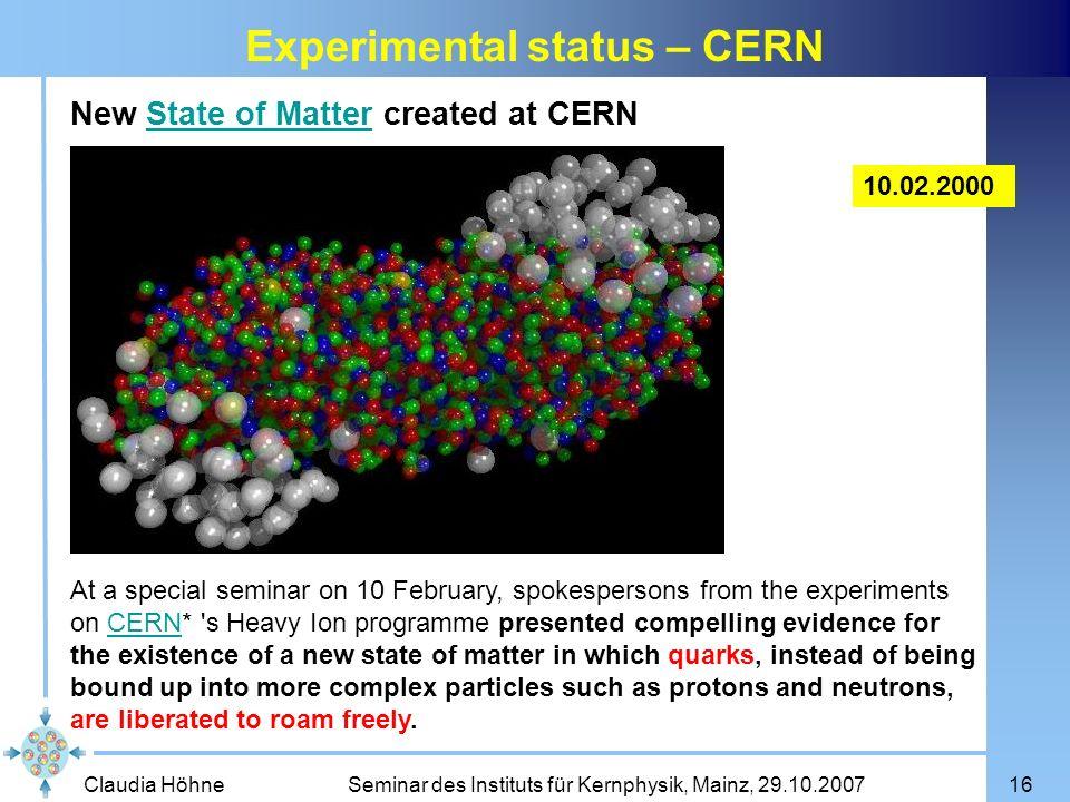 Experimental status – CERN
