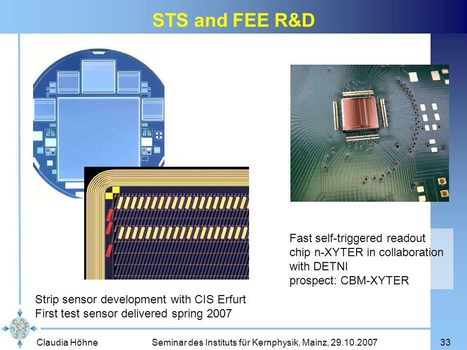 STS and FEE R&D Fast self-triggered readout chip n-XYTER in collaboration with DETNI. prospect: CBM-XYTER.