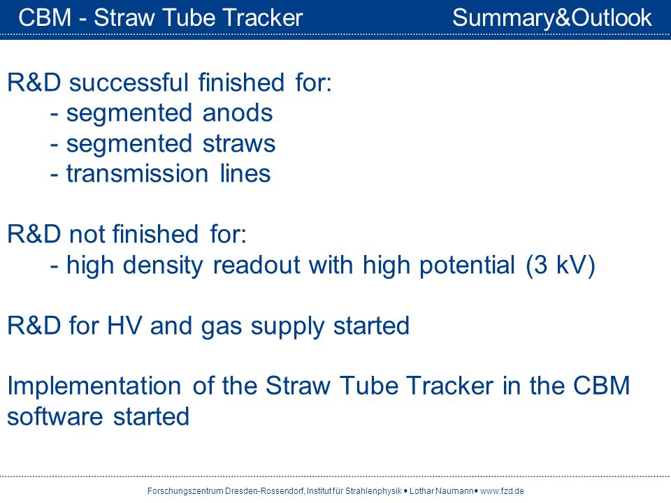 CBM - Straw Tube Tracker Summary&Outlook