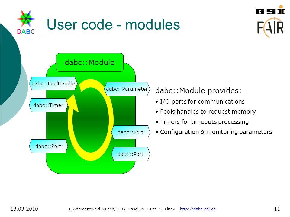 User code - modules dabc::Module dabc::Module provides: