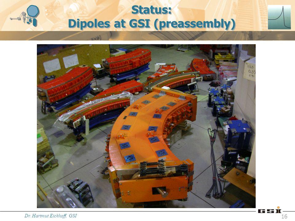 Status: Dipoles at GSI (preassembly)