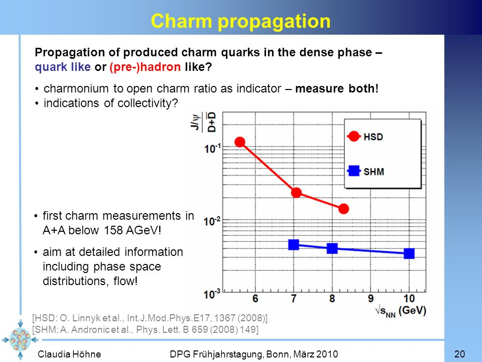 Charm propagation Propagation of produced charm quarks in the dense phase – quark like or (pre-)hadron like