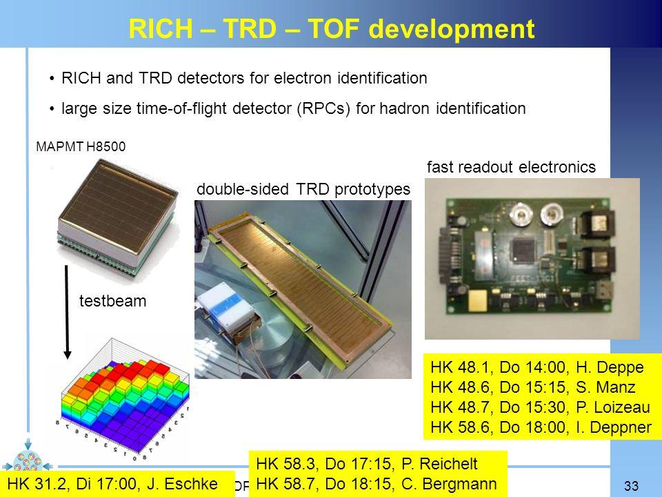 RICH – TRD – TOF development