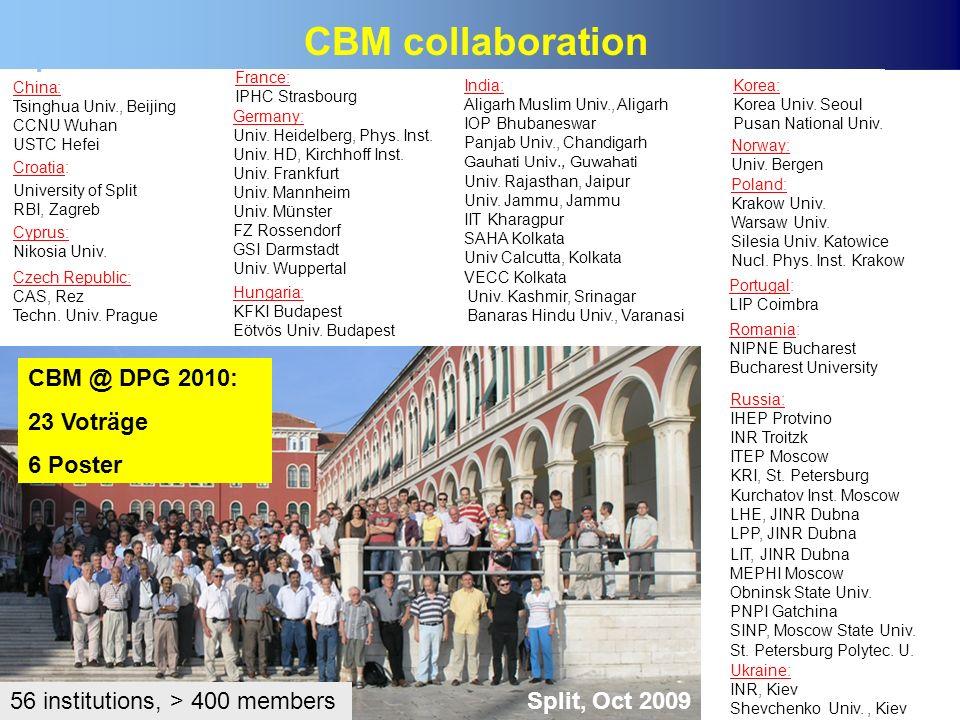 CBM collaboration CBM @ DPG 2010: 23 Voträge 6 Poster