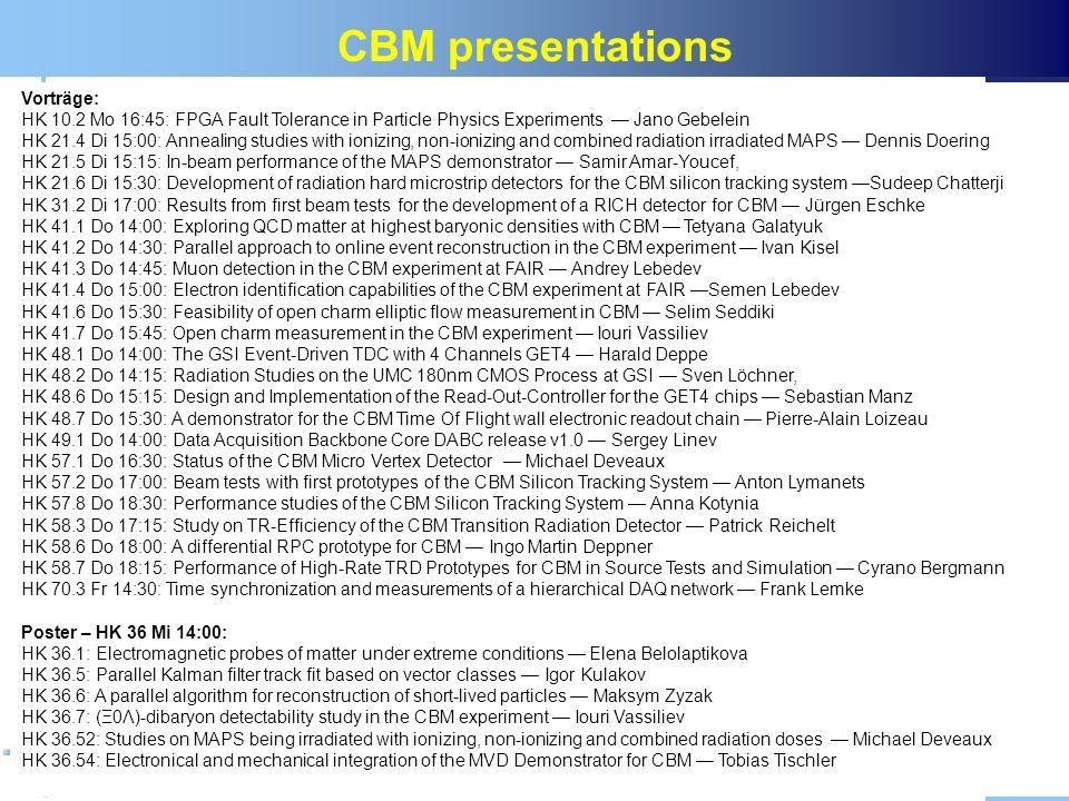 CBM presentations Vorträge:
