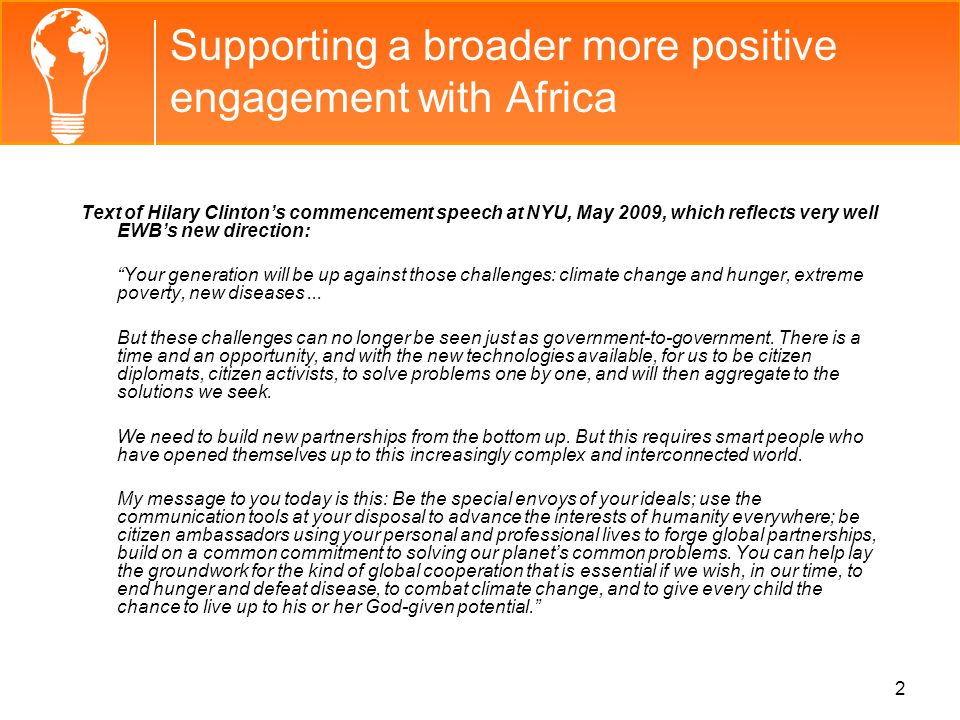 Supporting a broader more positive engagement with Africa