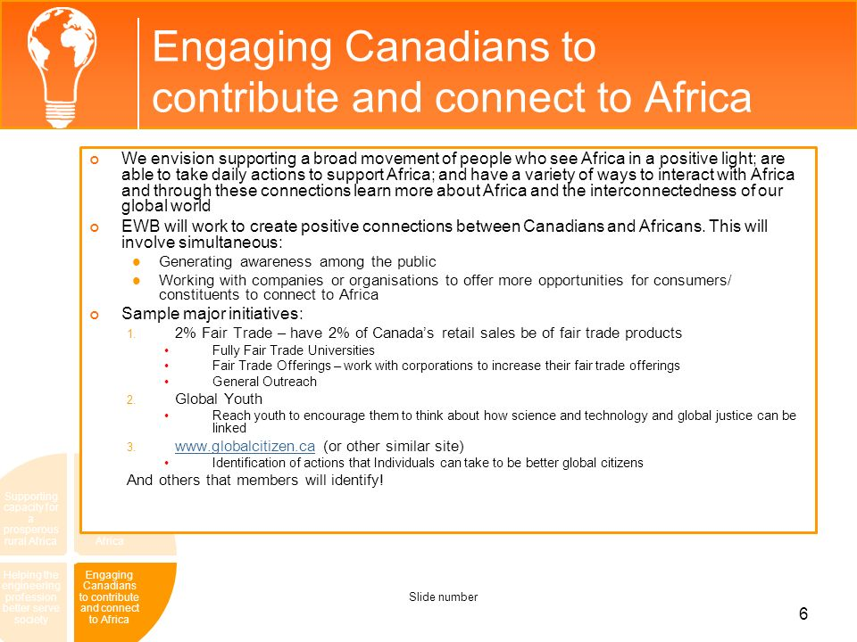 Engaging Canadians to contribute and connect to Africa