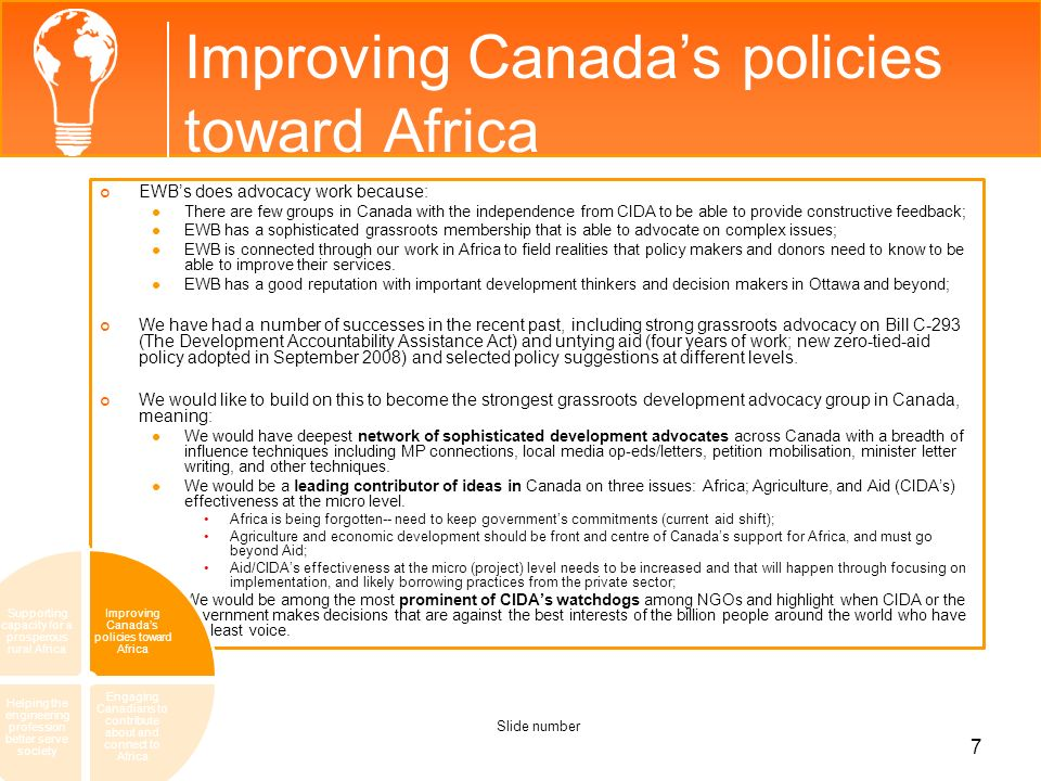Improving Canada's policies toward Africa