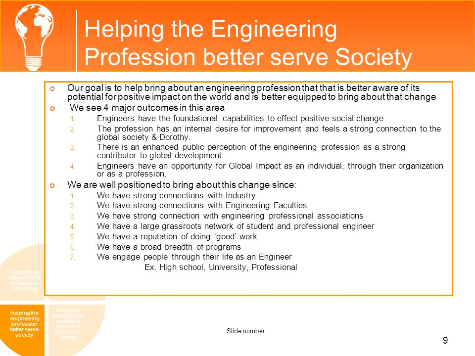 Helping the Engineering Profession better serve Society