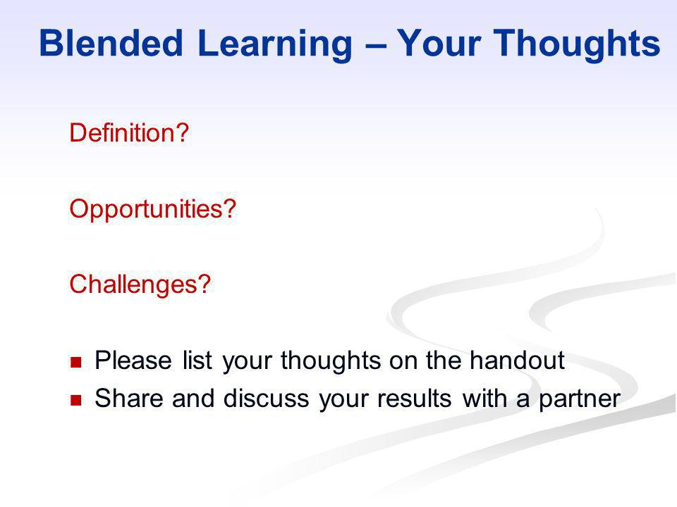 Blended Learning – Your Thoughts