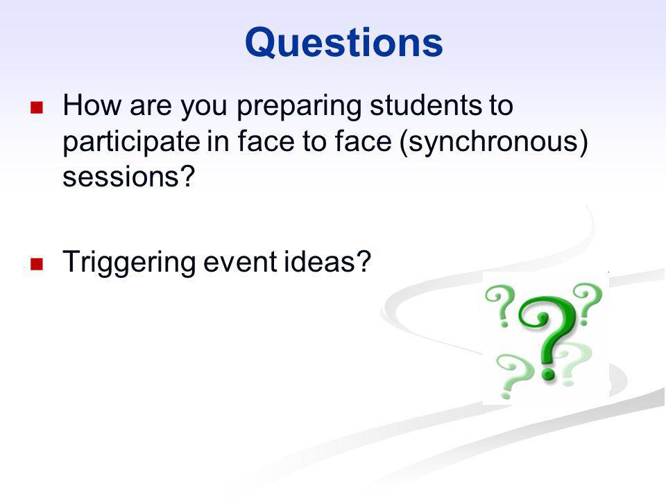 QuestionsHow are you preparing students to participate in face to face (synchronous) sessions.