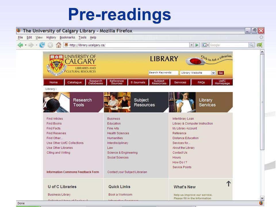 Pre-readings