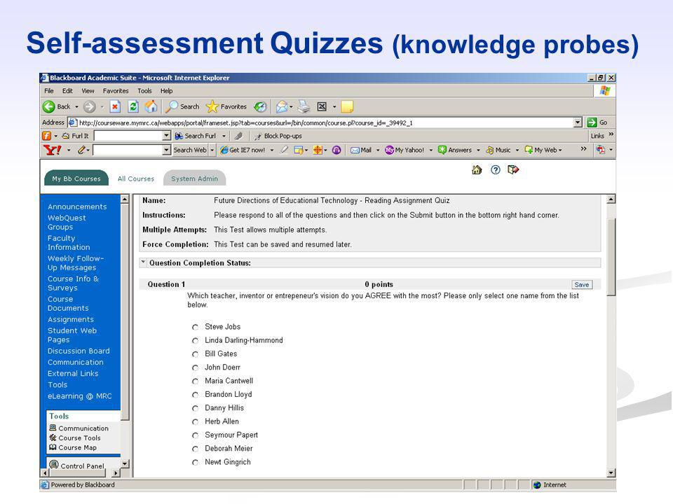 Self-assessment Quizzes (knowledge probes)