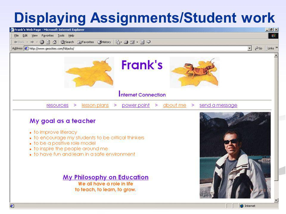Displaying Assignments/Student work