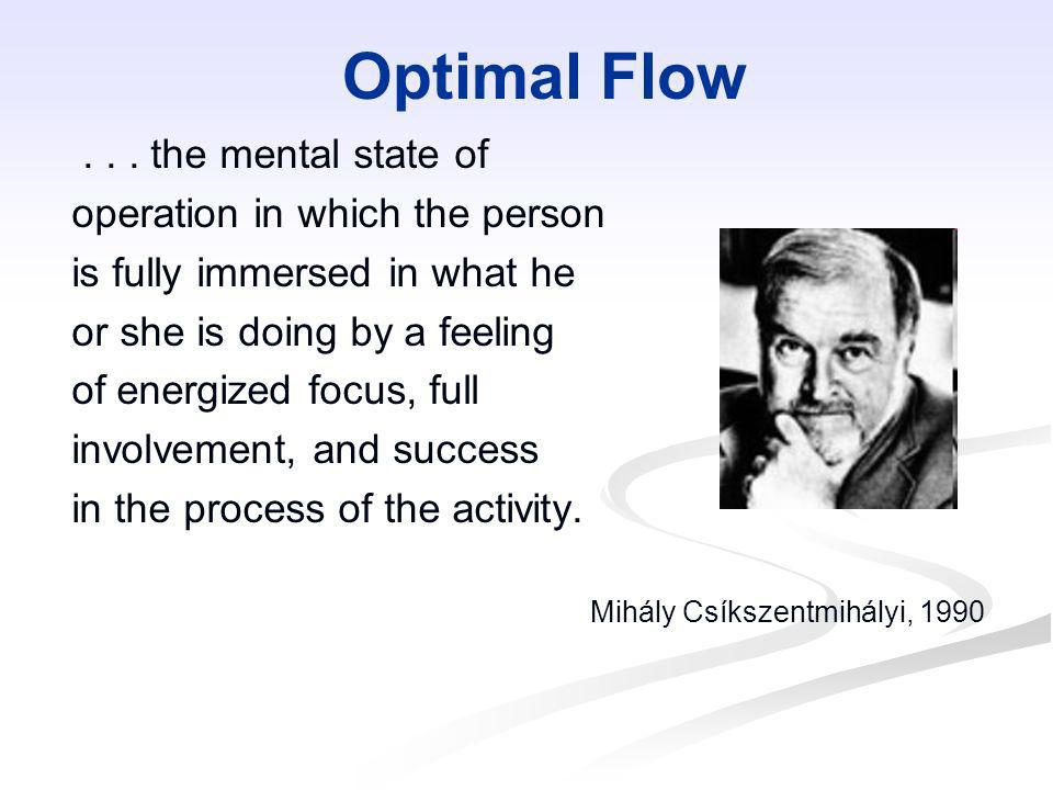 Optimal Flow . . . the mental state of operation in which the person
