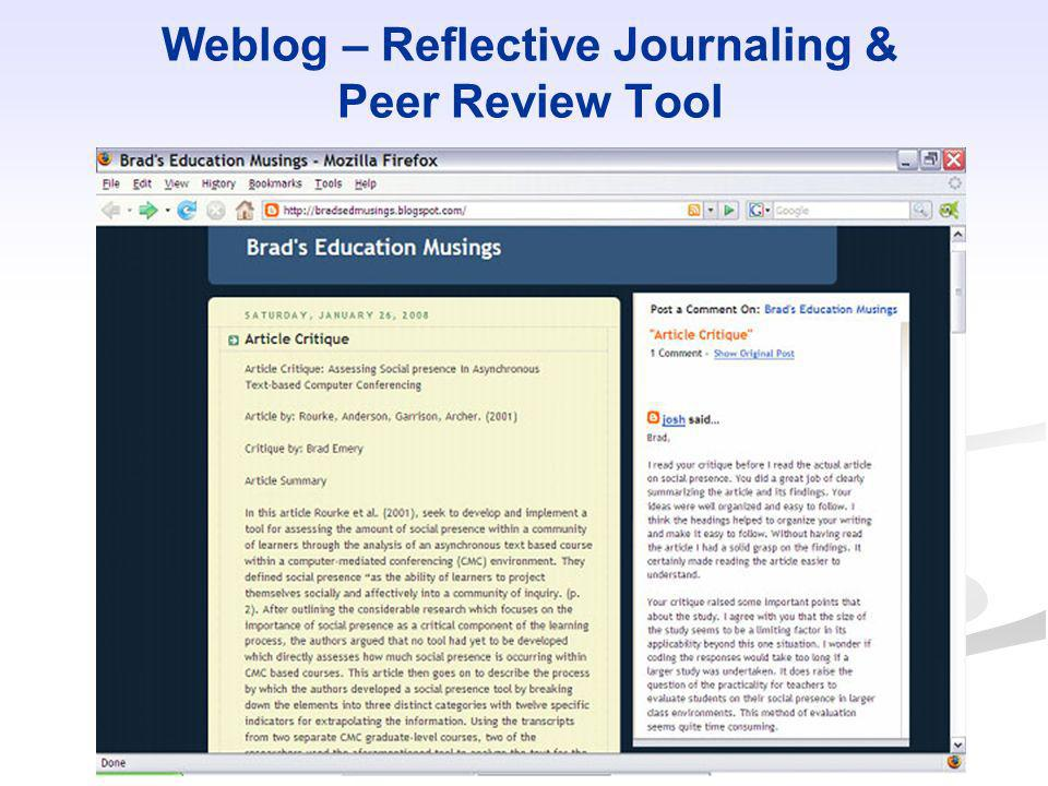 Weblog – Reflective Journaling & Peer Review Tool