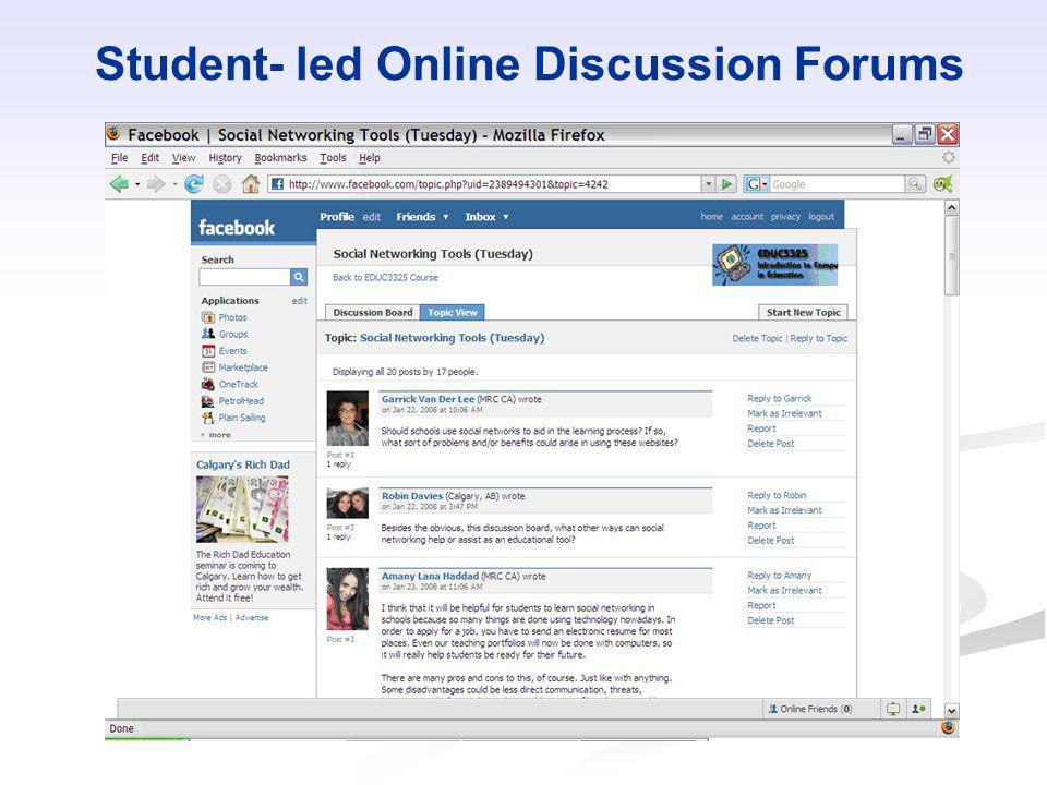 Student- led Online Discussion Forums