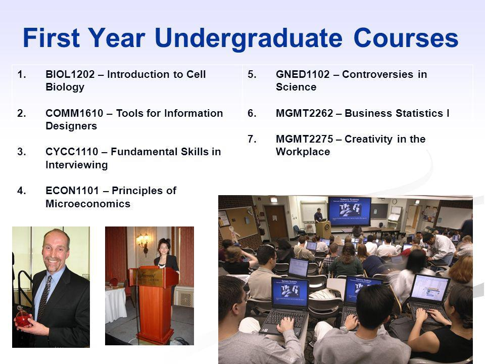 First Year Undergraduate Courses