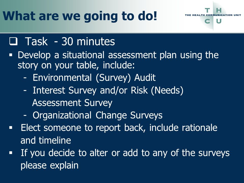 What are we going to do! Task - 30 minutes