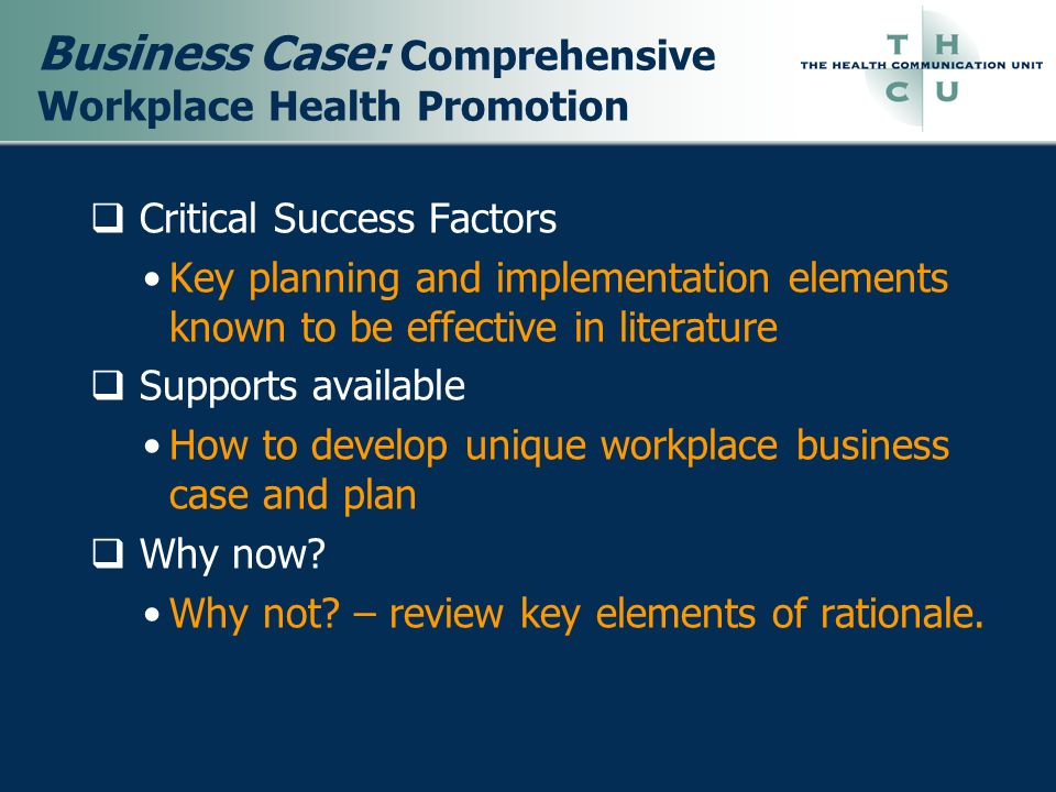 Business Case: Comprehensive Workplace Health Promotion