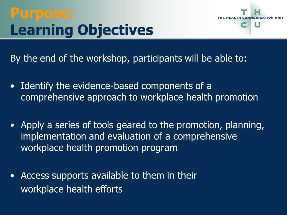 Purpose: Learning Objectives
