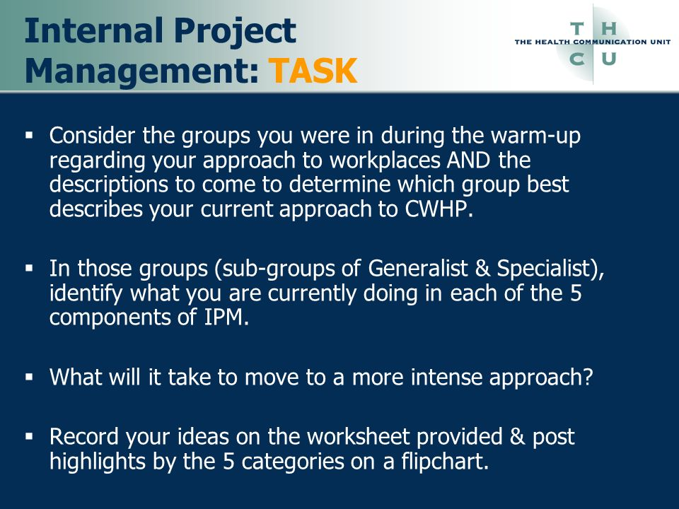 Internal Project Management: TASK