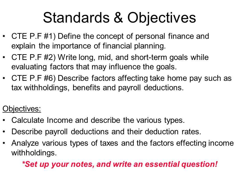 unit 1  financial planning  income and taxes