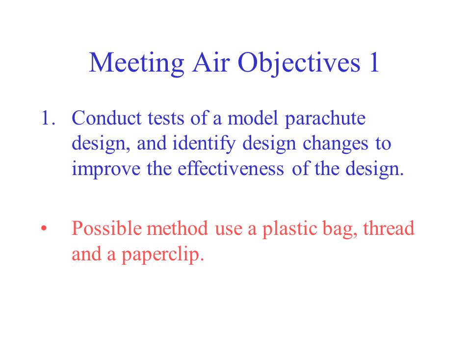 Meeting Air Objectives 1