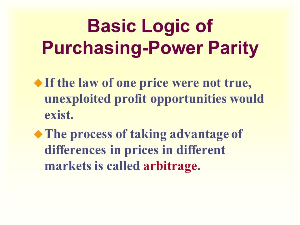 law of one price and purchasing power parity analysis The law of one price and purchasing power parity analysis is one of the most popular assignments among students' documents if you are stuck with writing or missing ideas, scroll down and.