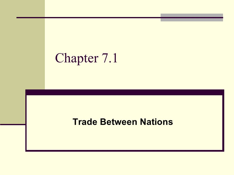 Chapter 7.1 Trade Between Nations