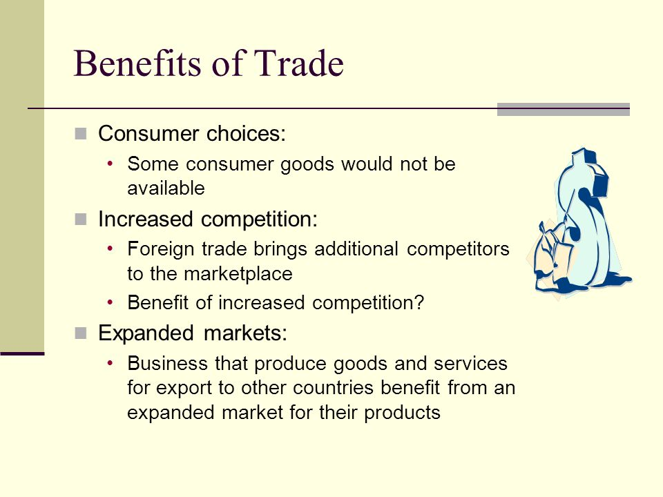 Benefits of Trade Consumer choices: Increased competition: