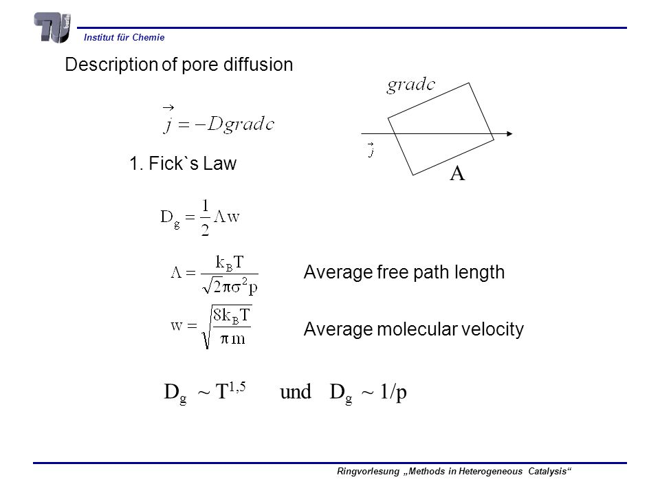 A Dg ~ T1,5 und Dg ~ 1/p Description of pore diffusion 1. Fick`s Law