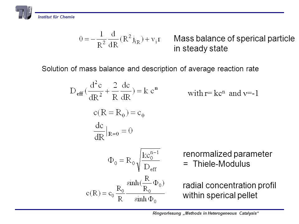 Mass balance of sperical particle in steady state