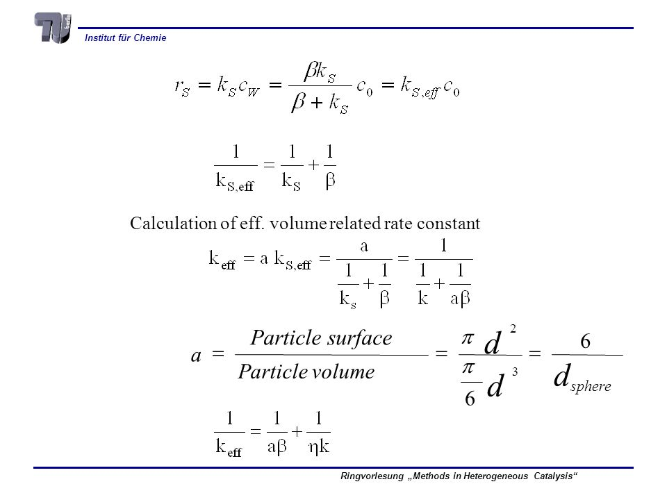 dsphere d Particle surface 6 = a p Particle volume