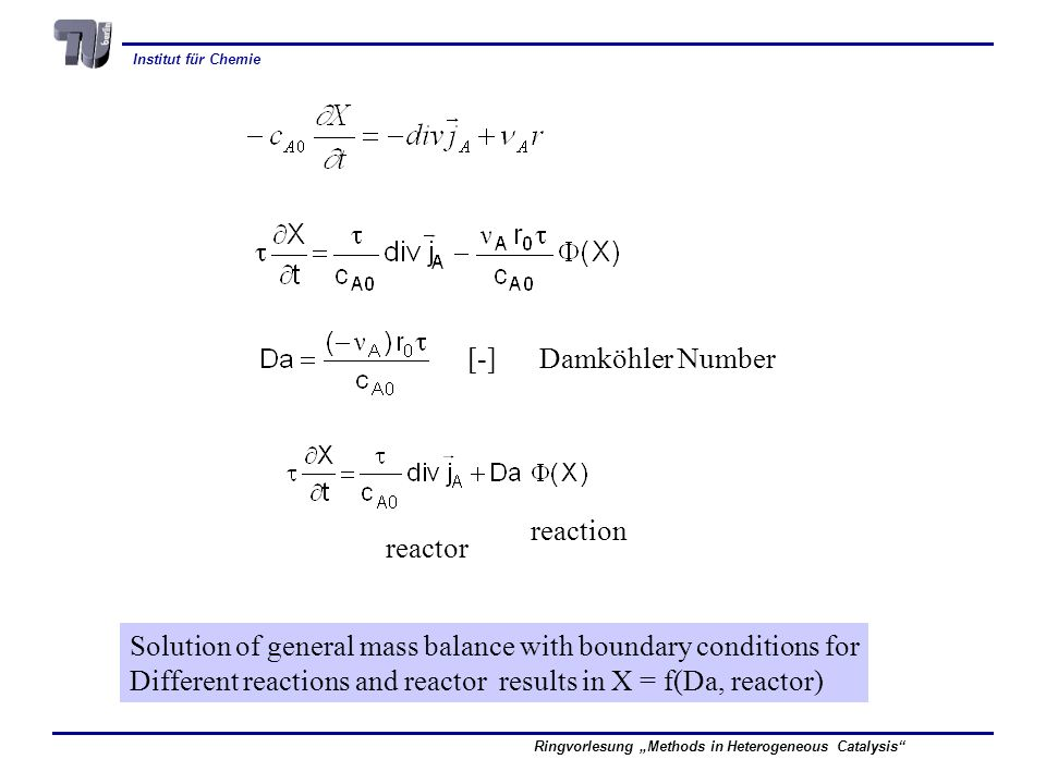 [-] Damköhler Number reaction. reactor. Solution of general mass balance with boundary conditions for.